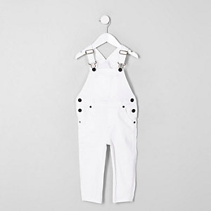 Mini kids white denim overalls
