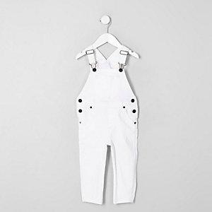 Mini kids white denim overalls