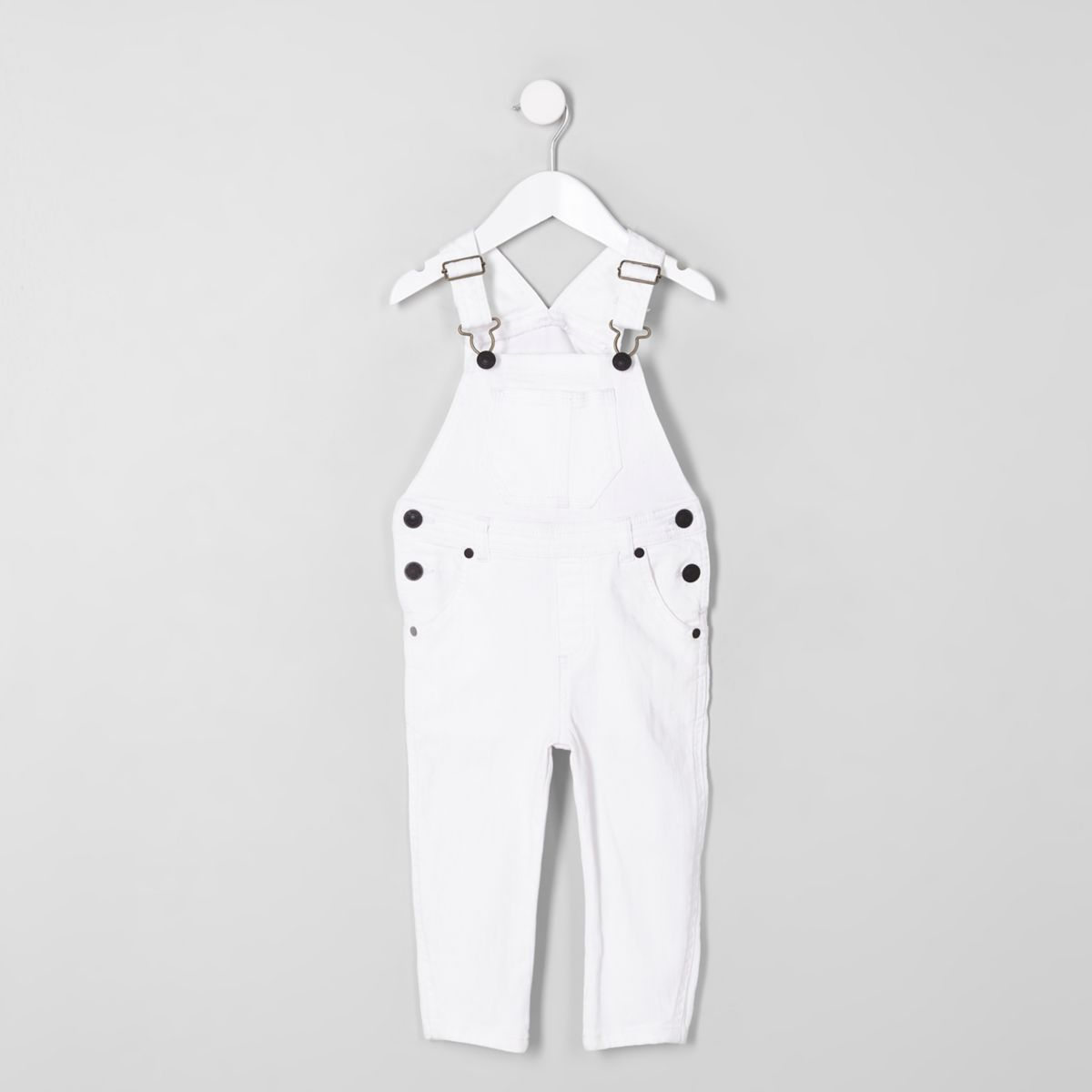 Mini kids white denim dungarees