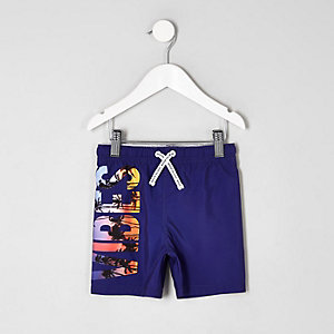 Mini boys purple 'vibes' print swim shorts
