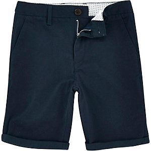 Boys navy Dylan slim fit chino shorts