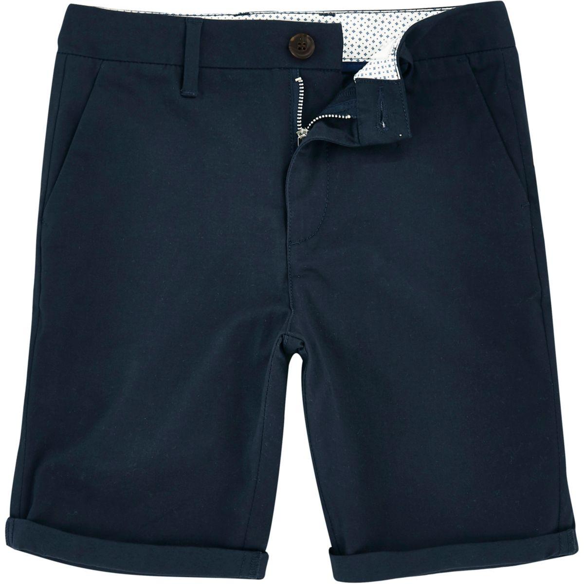 Boys navy Dylan slim fit chino shorts