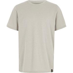 Boys grey waffle crew neck T-shirt