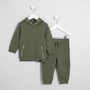 Mini - Kaki outfit met piqué hoodie voor jongens