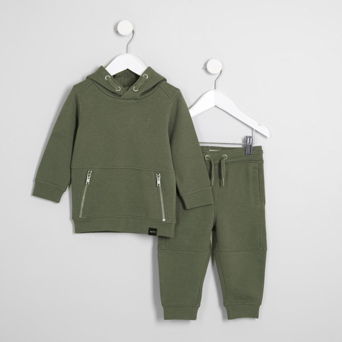 Mini boys khaki pique hoodie outfit