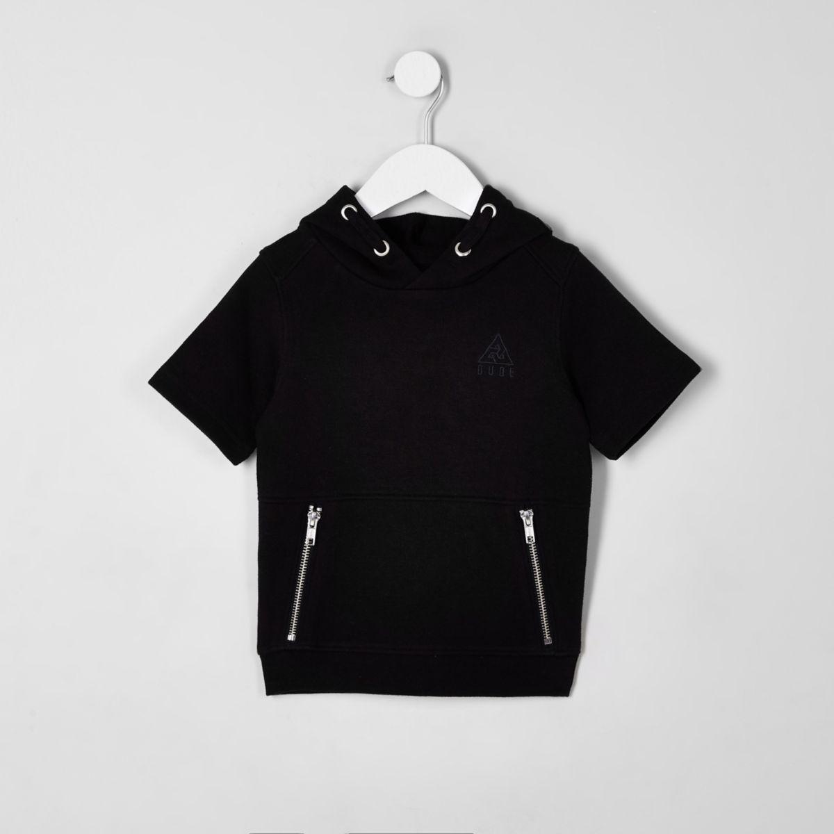 Mini boys black pique hoodie