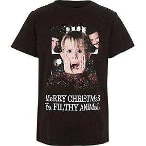 Boys black Home Alone Christmas print T-shirt