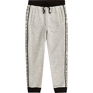 Boys grey 'Mnhttn' side print joggers