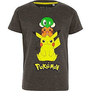 Boys grey Pokemon print T-shirt