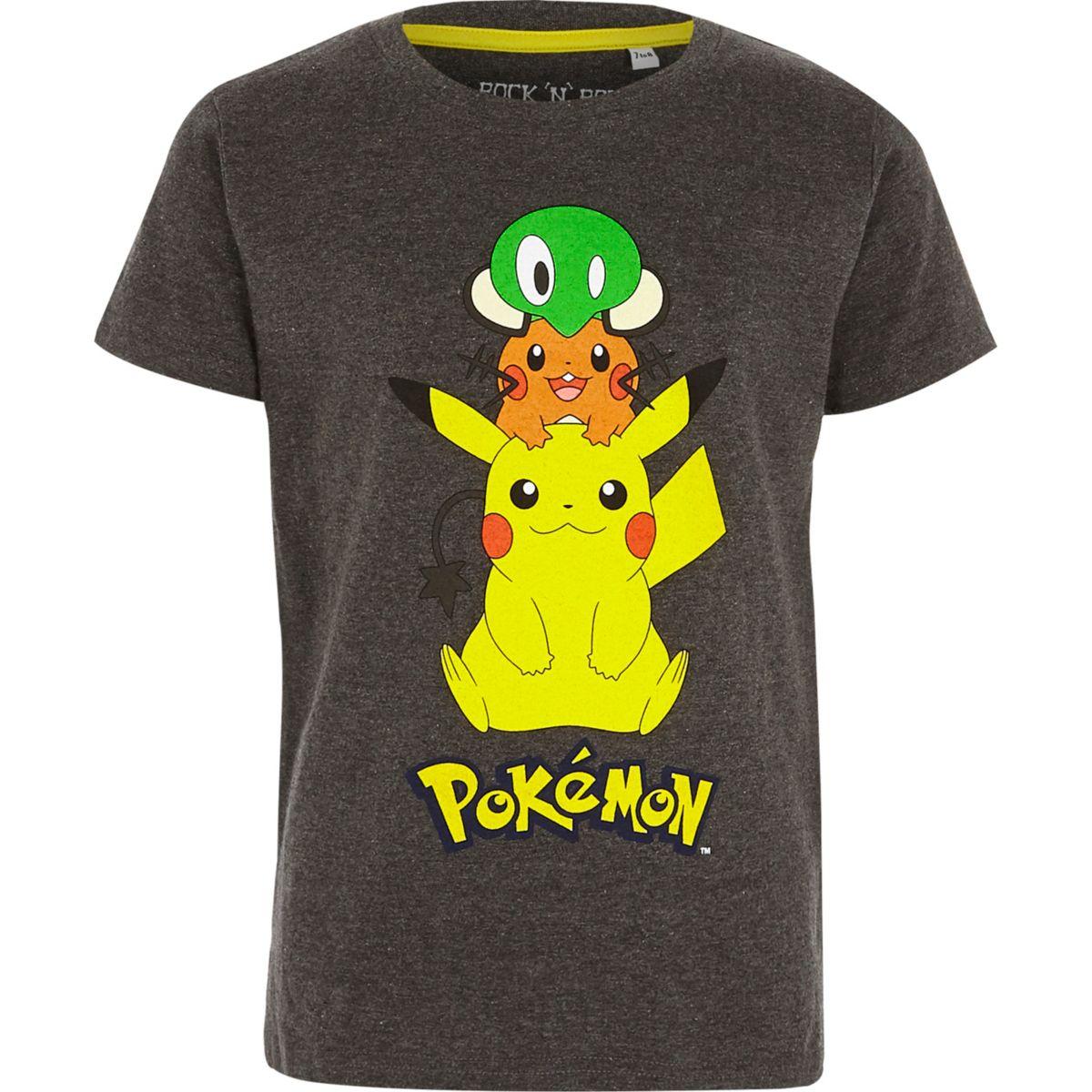 T-shirt imprimé Pokémon gris pour garçon