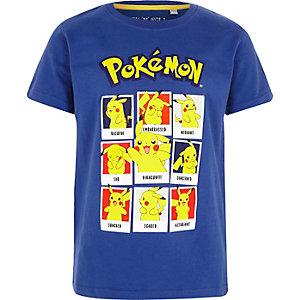Blauw T-shirt met Pokemon-polaroidprint voor jongens