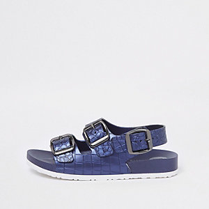 Boys navy croc buckle sandals
