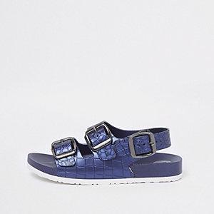 Marineblauwe sandalen met krokodillenprint en gespen voor jongens