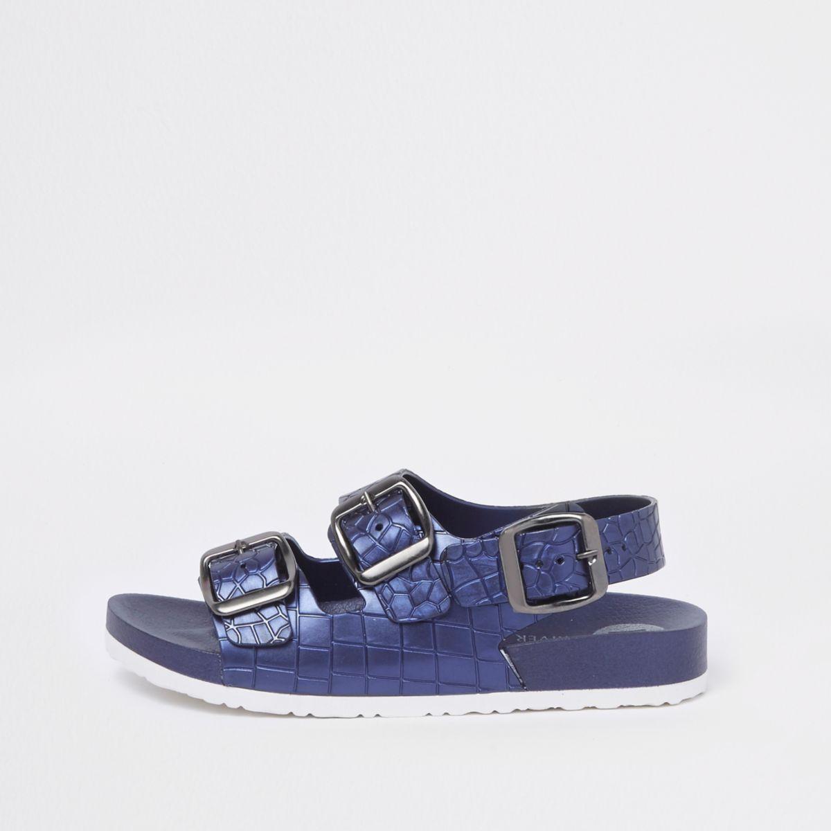 Boys navy croc buckle sandals
