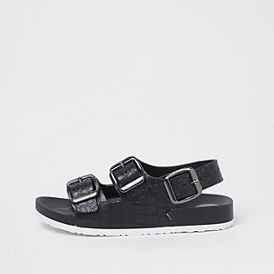 Boys black croc buckle sandals
