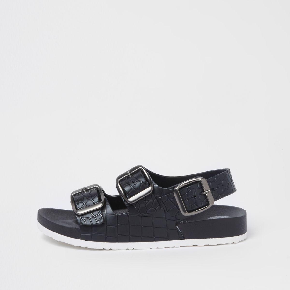 Boys black croc buckle sandals