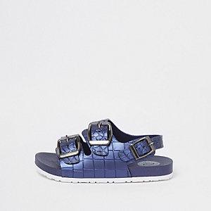 Mini - Blauwe sandalen met gesp en krokodillenprint voor jongens
