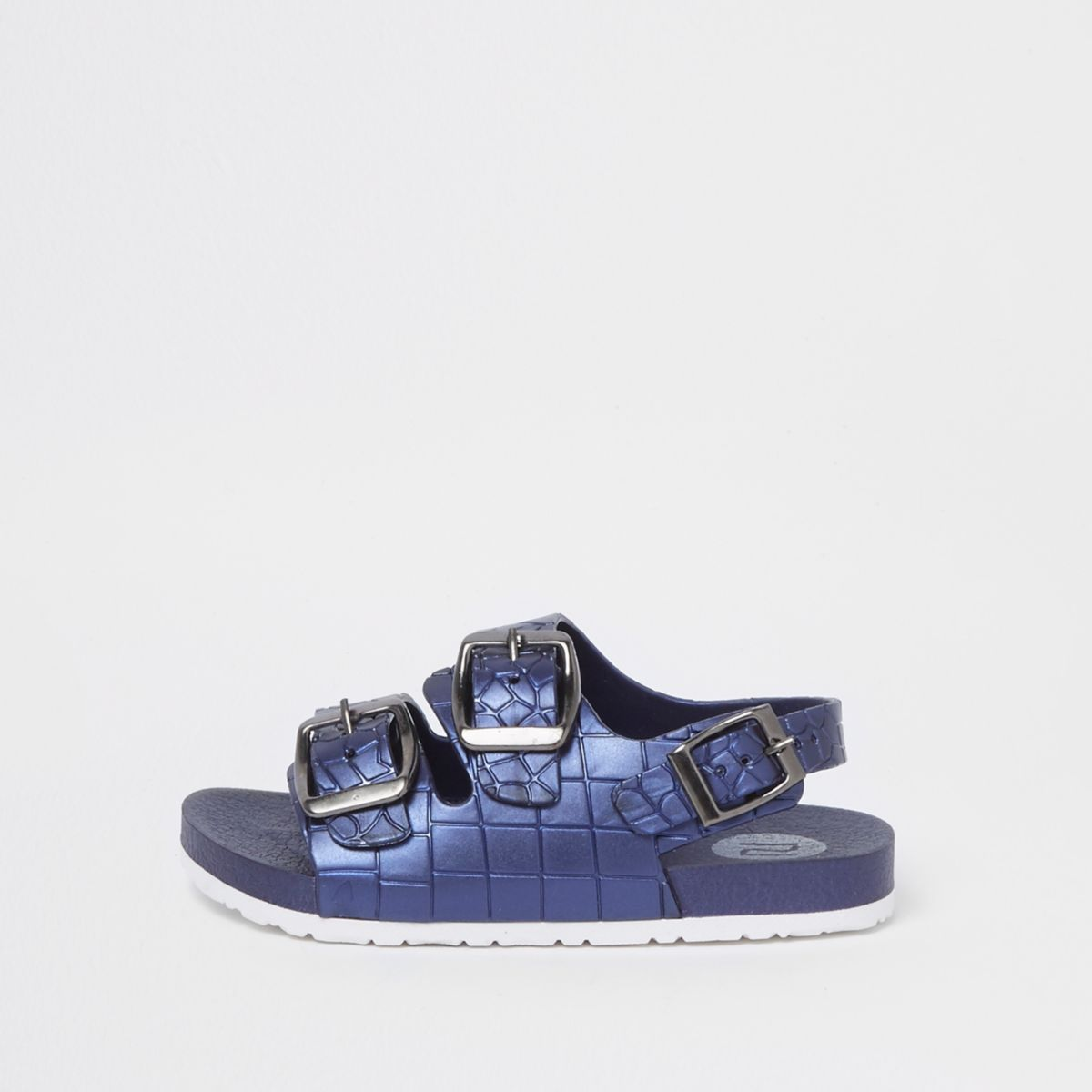 Mini boys blue croc embossed buckle sandals