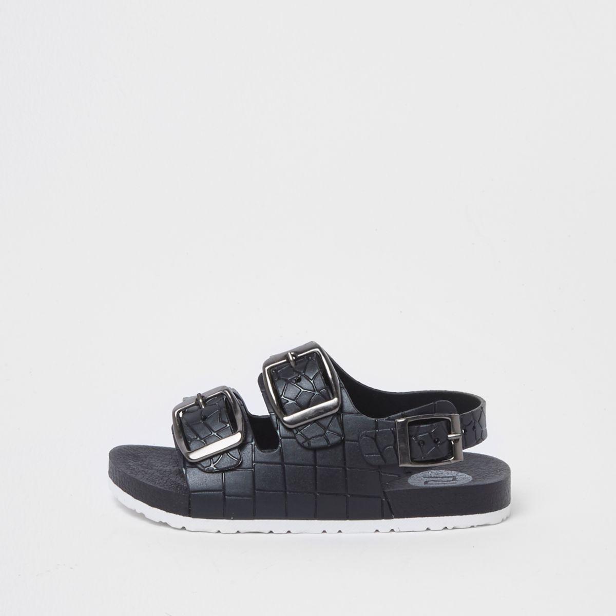 Mini boys black croc embossed buckle sandals