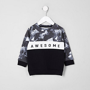 Sweat imprimé awesome style colour block bleu marine pour mini garçon