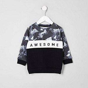Mini - Marineblauw 'awesome' sweatshirt met kleurvlakken voor jongens