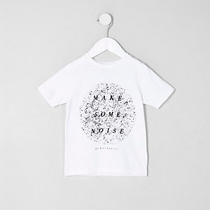 Mini - Wit T-shirt met 'make some noise'-print voor jongens