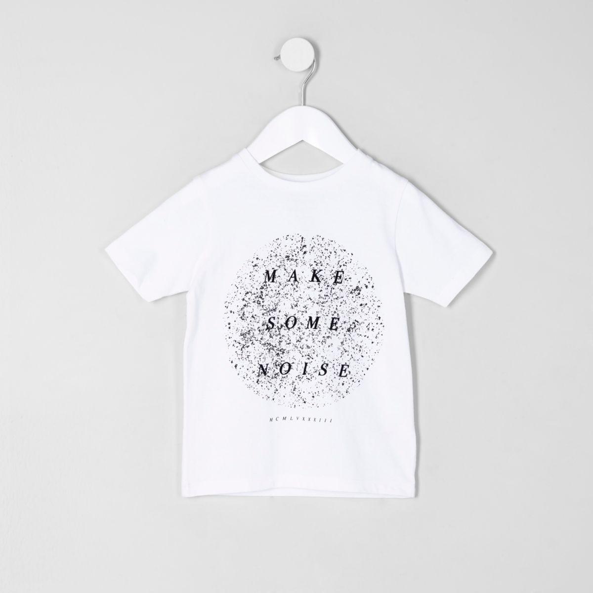 Mini boys white 'make some noise' T-shirt