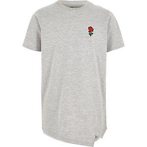 Grijs gemêleerd geborduurd T-shirt met rozenprint voor jongens