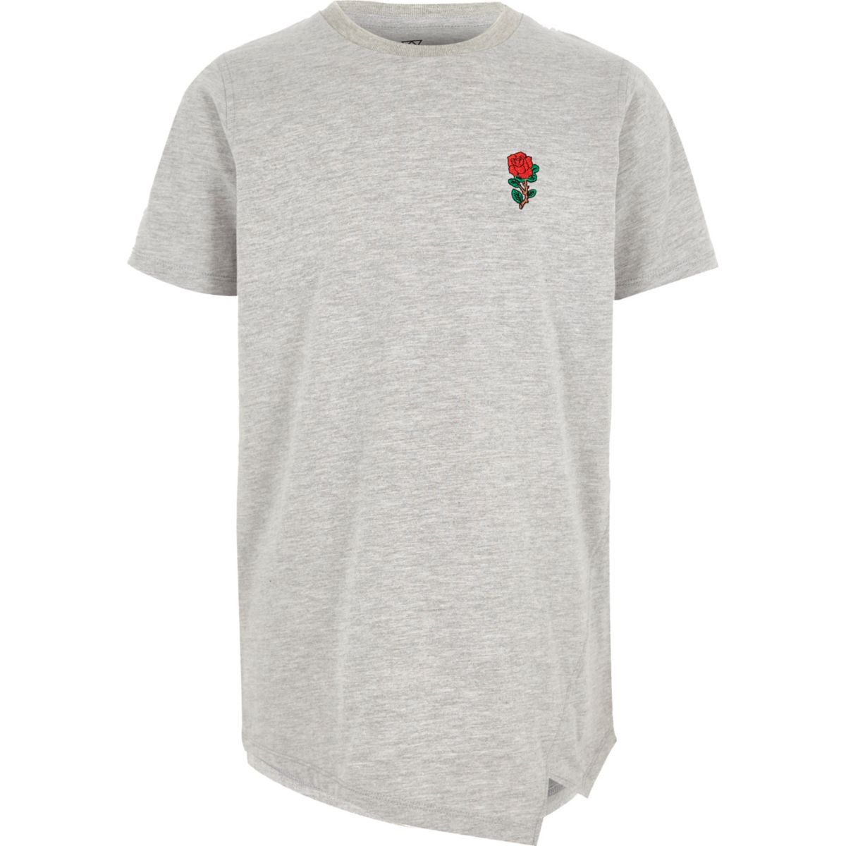 Boys grey marl rose embroidered T-shirt