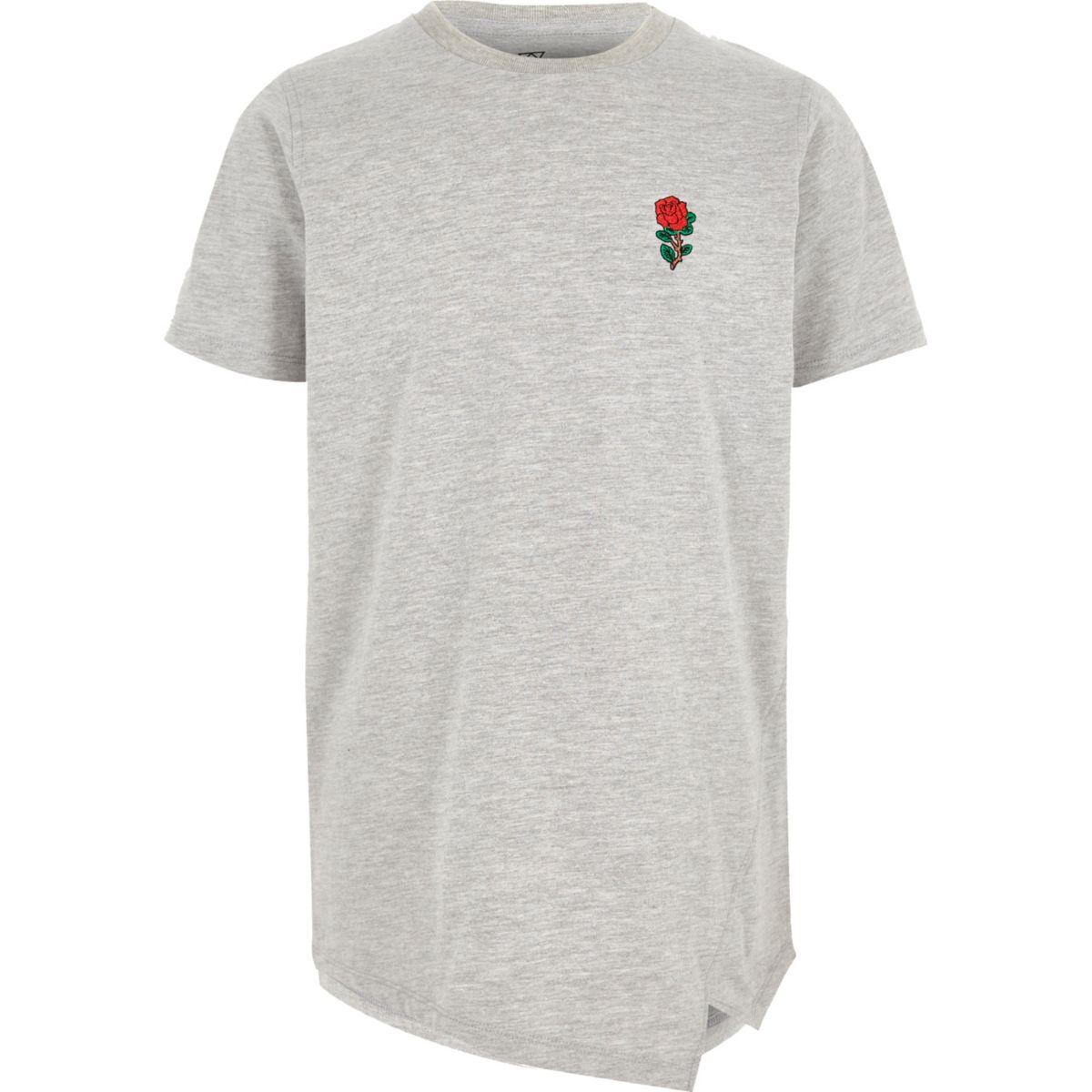 T-shirt gris chiné à rose brodée pour garçon