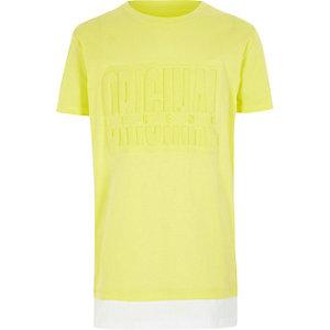 Geel T-shirt met 'original'-print en gelaagde zoom voor jongens