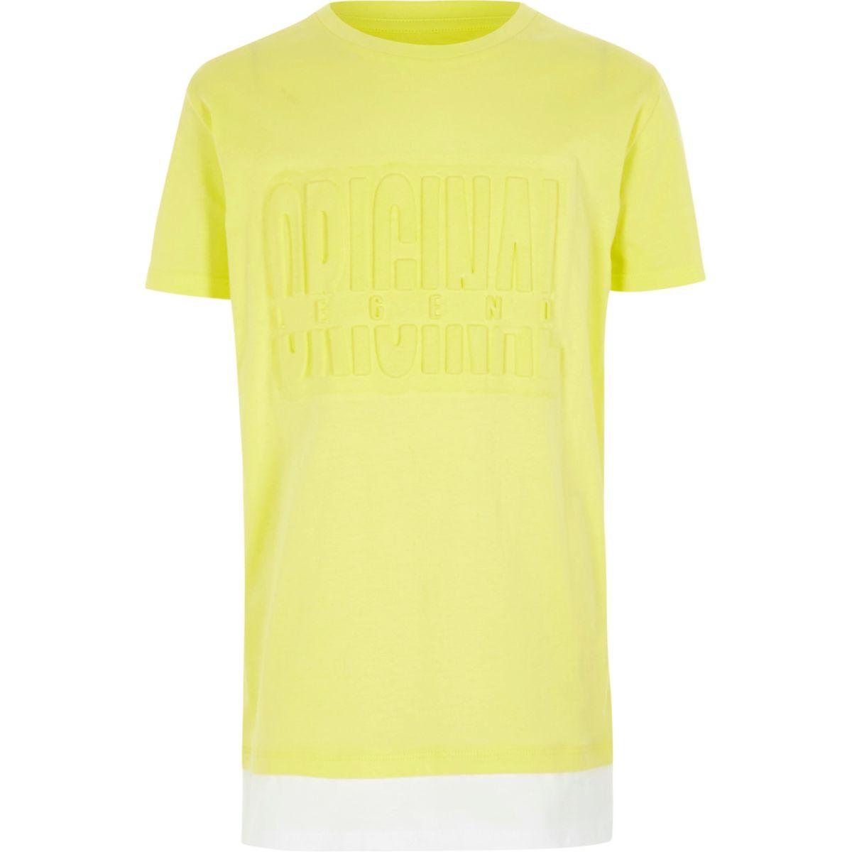 Boys yellow 'original' layered hem T-shirt