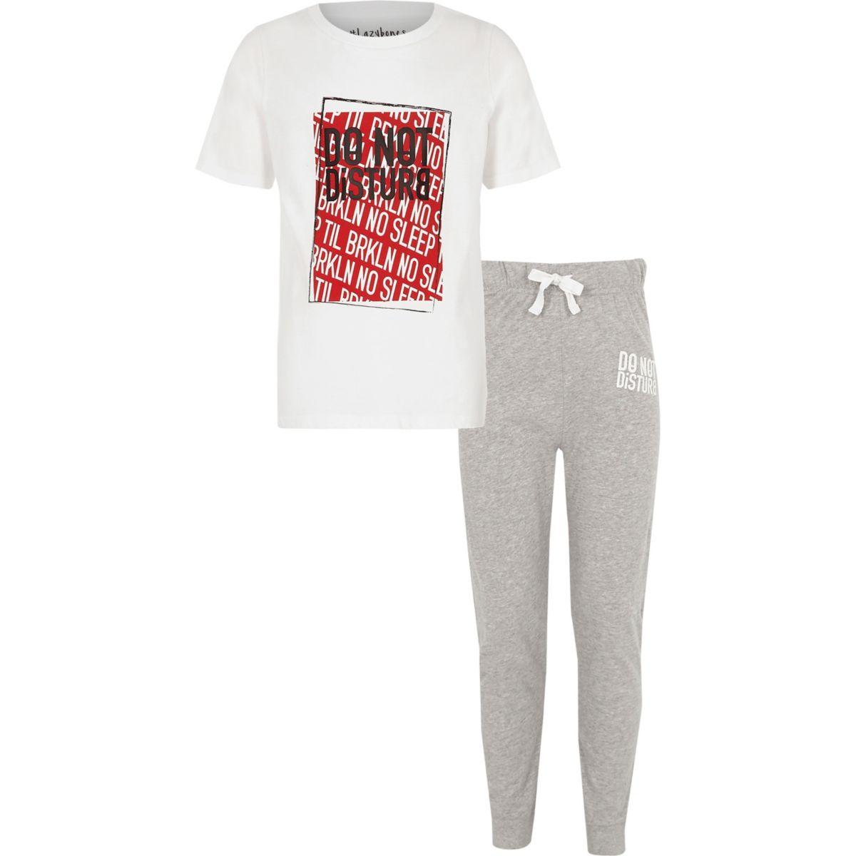 Boys white 'do not disturb' pyjama set