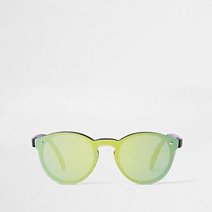 Mini boys green reflective retro sunglasses