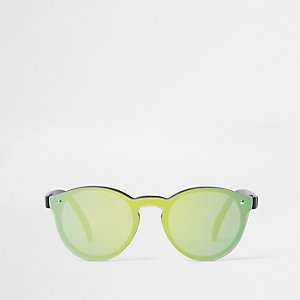 Mini boys green reflective retro sunglasses