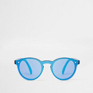 Mini - Blauwe refelctieve retro zonnebril voor jongens