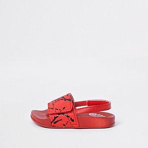Claquettes imprimé éclaboussures de peinture rouges mini garçon
