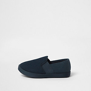Mini boys navy canvas slip on plimsolls