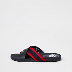 Boys navy stripe cross over flip flops