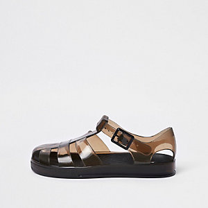 Boys black two tone jelly sandals