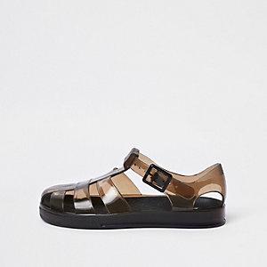 Sandales en plastique noires bicolores pour garçon