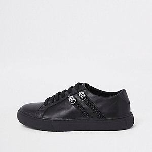 Boys black lace-up double zip side sneakers