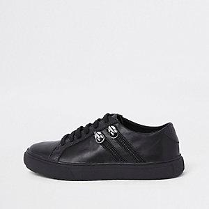 Baskets noires à lacets et deux zips latéraux pour garçon