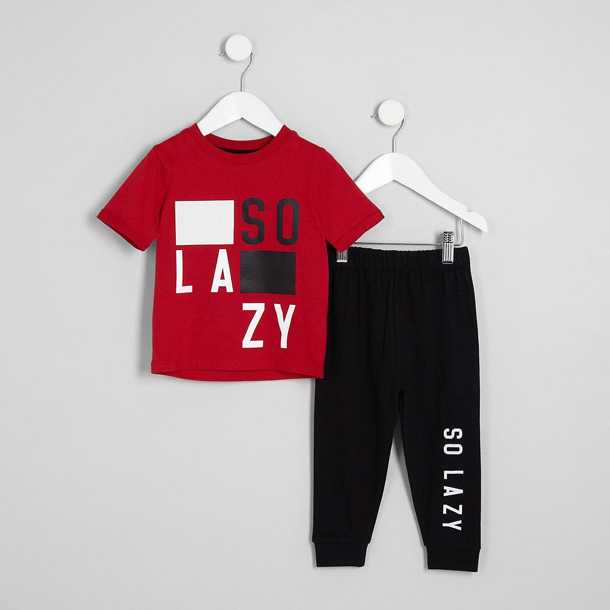 Mini boys red 'so lazy' pajama set
