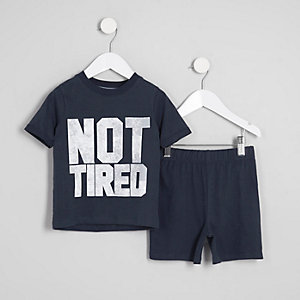 Mini - Marineblauwe pyjamaset met 'not tired'-print voor jongens