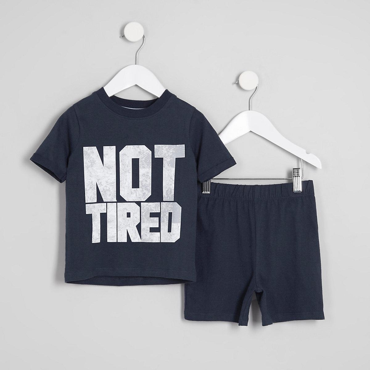Mini boys navy 'not tired' print pajama set