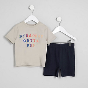 Mini - Pyjamaset met 'straight outta bed'-print voor jongens