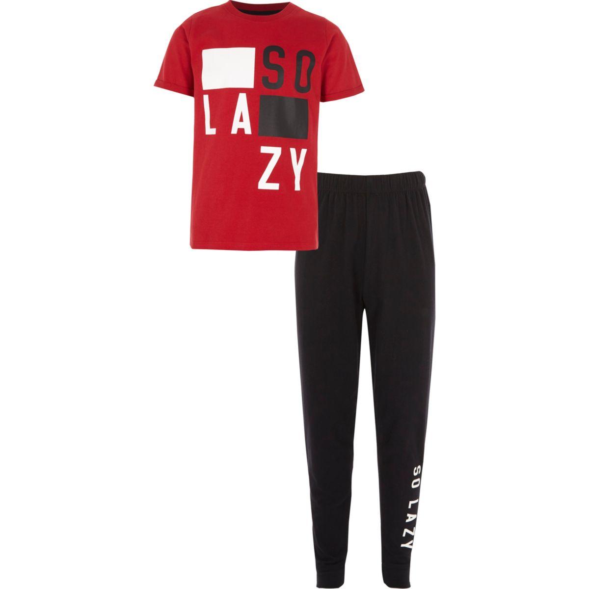 Boys red 'so lazy' pyjama set