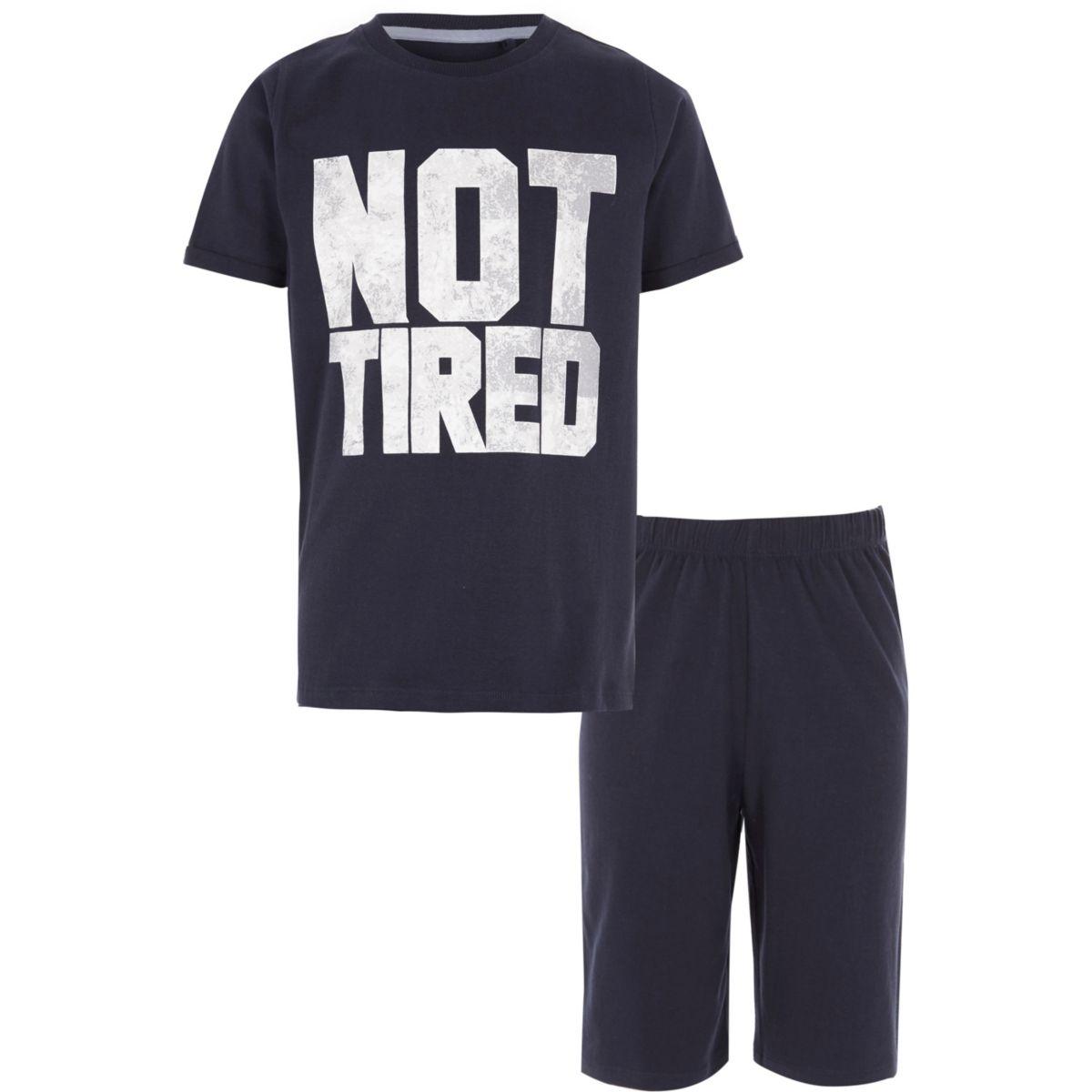 Boys navy 'not tired' print pajama set