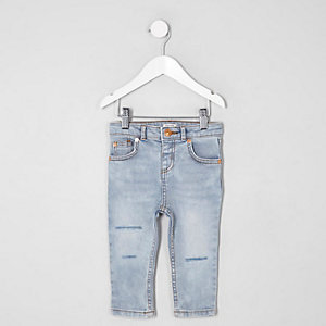 Mini boys light blue Sid ripped skinny jeans